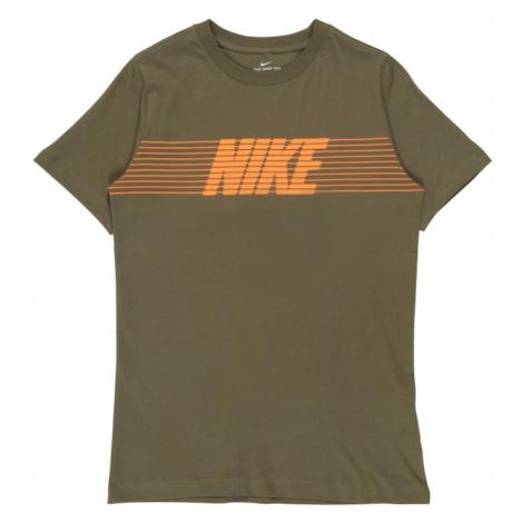 Nike Sportswear Koszulka oliwkowy / pomarańczowy