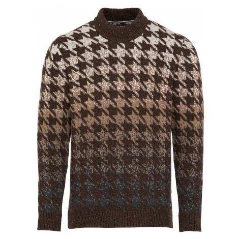 Marc O'Polo Sweter ciemnobrązowy / jasnobrązowy / beżowy / gołąbkowo niebieski
