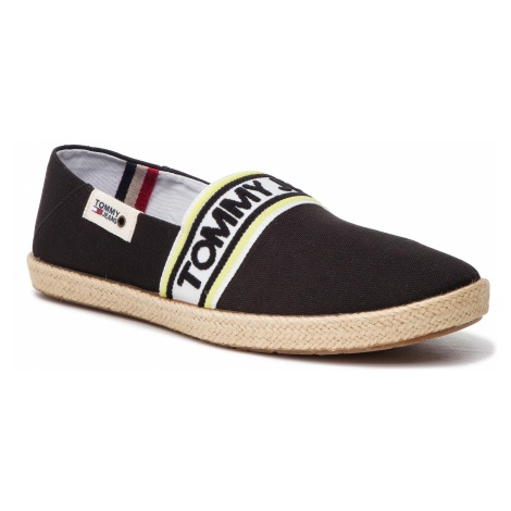 Espadryle TOMMY JEANS - Stripe Summer Shoe EM0EM00222 Black 990 Tommy Hilfiger