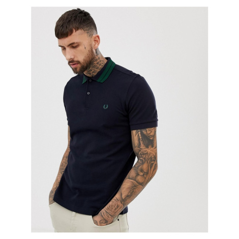 Fred Perry bold tipped pique polo in navy