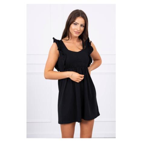 Sukienka z falbankami po bokach czarny