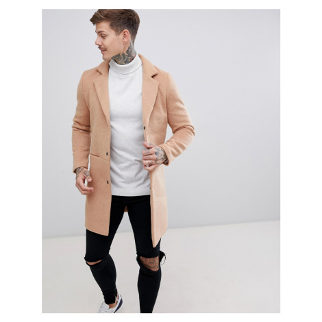 BoohooMAN overcoat in camel