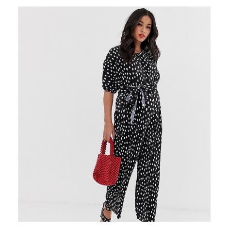 ASOS DESIGN Maternity plisse tie front jumpsuit in spot print