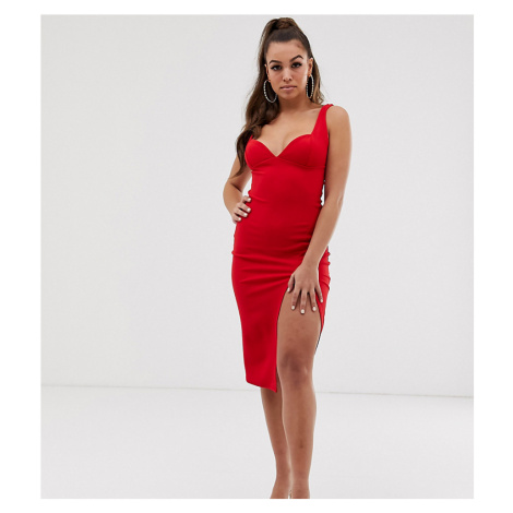 Boohoo plunge midi dress with sweetheart neckline and side split in red