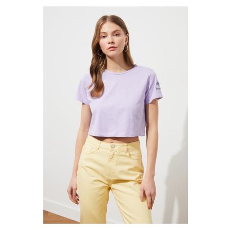 Modylej Lila Haftowane Crop Dzianina T-Shirt Trendyol