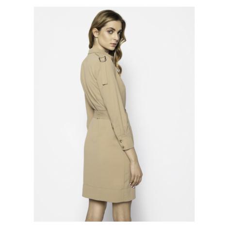 Pinko Sukienka koszulowa Maraiko 20201 PBK2 1B14G8 8070 Beżowy Regular Fit