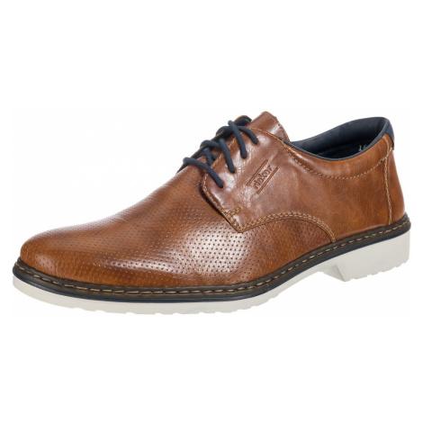 RIEKER Buty sznurowane ciemny niebieski / brązowy / biały