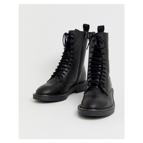 ASOS DESIGN Alarm leather lace up boots
