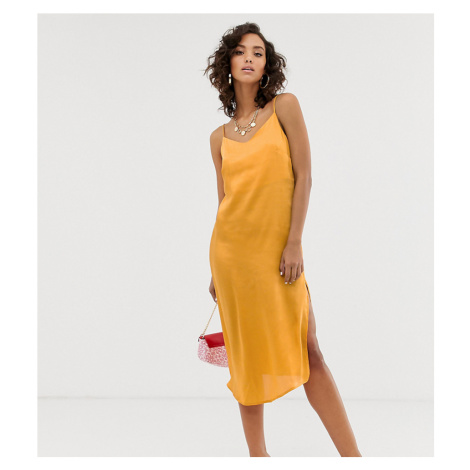 Na-kd satin slip dress in yellow