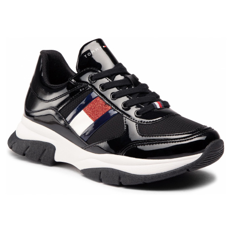 Sneakersy TOMMY HILFIGER - Low Cut Lace-Up Sneaker T3A4-30818-1022 S Black 999