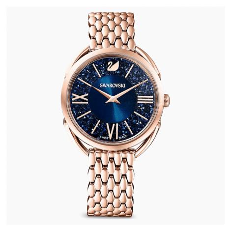 Zegarek Crystalline Glam, bransoleta z metalu, niebieski, powłoka PVD w odcieniu różowego złota Swarovski