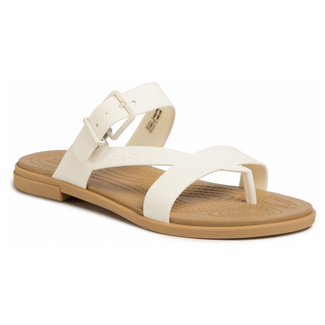 Japonki CROCS - Tulum Toe Poost Sandal W 206108 Oyster/Tan