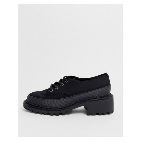 ASOS DESIGN Mix Up mudguard lace up flat shoe in black