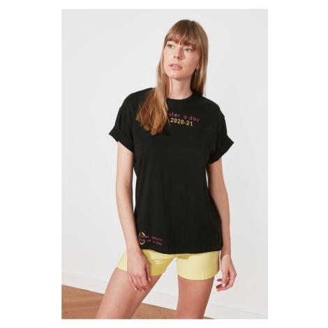 Trendyol Czarny Chłopak z nadrukiem Dzianinowy T-shirt