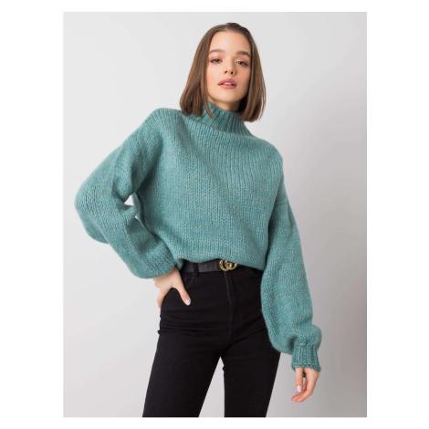 Damski sweter z ciemnym golfem miętowym