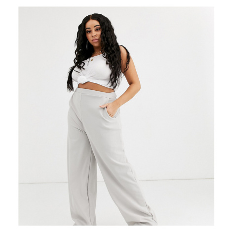 Boohoo Plus high waist ribbed wide leg trousers in grey