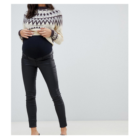 Mamalicious maternity coated skinny jeans with bump band in black Mama Licious