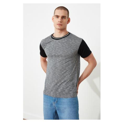 Modsylal Anthracite Męskie Regularne Fit Bike Collar Krótki rękaw T-Shirt Trendyol