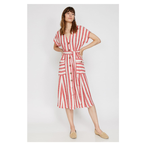 Koton Midi Striped Dress with Women's Red Pocket Detail Short Sleeves Tie Detail