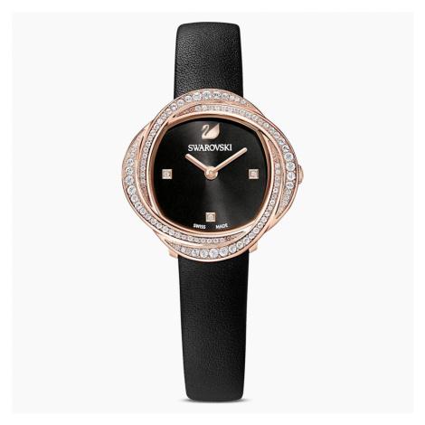 Zegarek Crystal Flower, pasek ze skóry, czarny, powłoka PVD w odcieniu różowego złota Swarovski