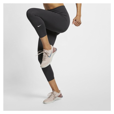 Damskie spodnie 3/4 ześrednim stanem Nike One - Czerń