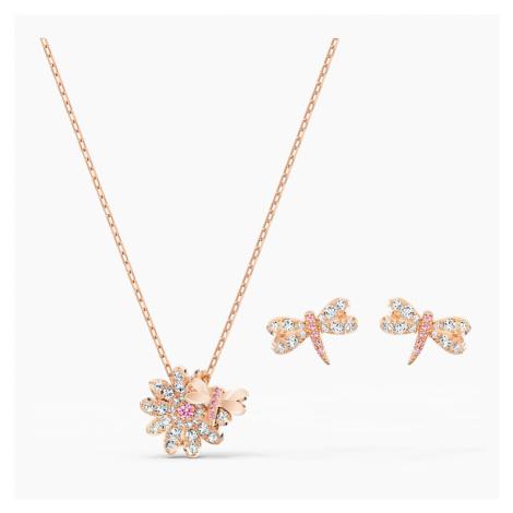 Zestaw Eternal Flower Dragonfly, różowy, powłoka w odcieniu różowego złota Swarovski