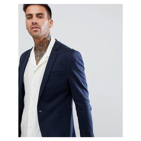 ASOS DESIGN super skinny blazer in navy jersey