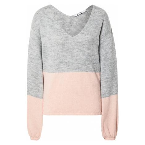 NA-KD Sweter różowy pudrowy / nakrapiany szary