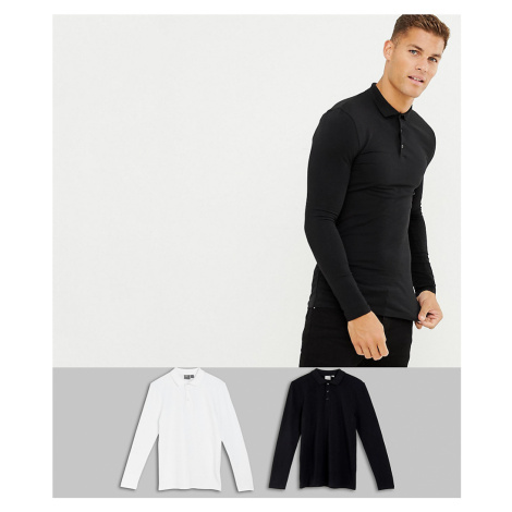 ASOS DESIGN 2 pack muscle fit long sleeve jersey polo save