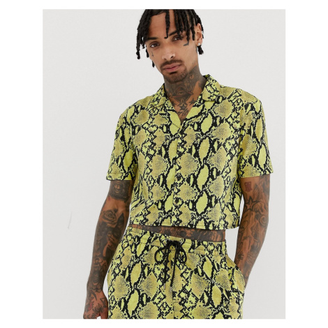 Another Influence cropped neon snake print shirt co-ord