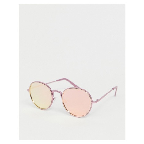 ASOS DESIGN oversized round pink sunglasses with flash lens
