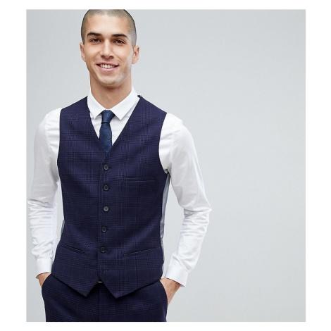 Heart & Dagger slim stretch waistcoat in tweed check