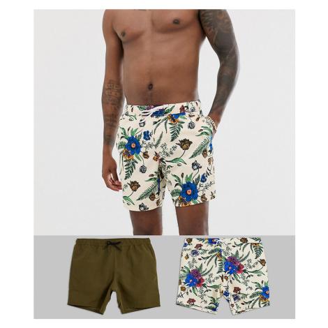 ASOS DESIGN swim shorts in floral & khaki mid length 2 pack multipack saving