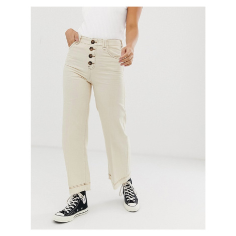 Bershka button top denim culottes in off white