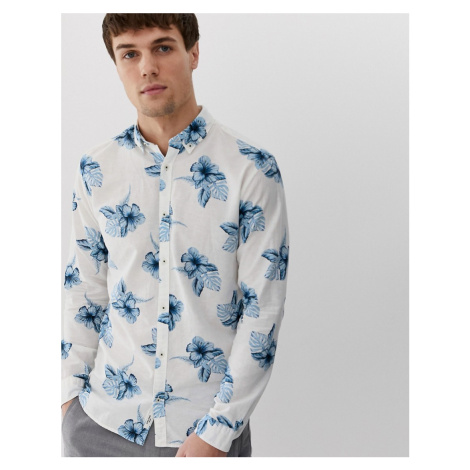 Jack & Jones Premium long sleeve printed floral linen shirt in white