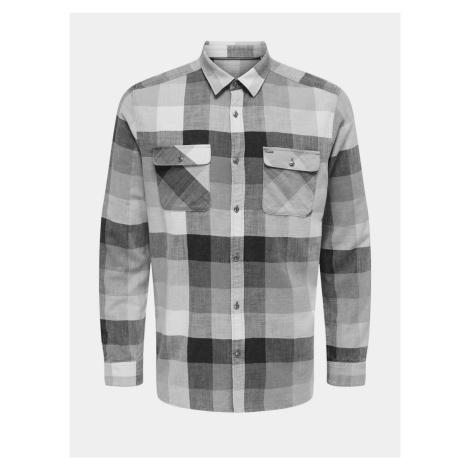 ONLY & SONS szary męska kostkovaná koszule
