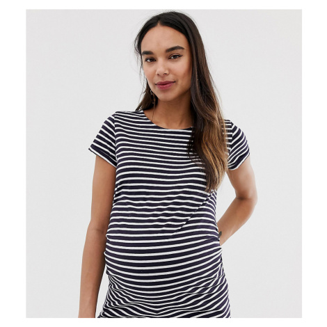 New Look Maternity short sleeve stripe top in blue