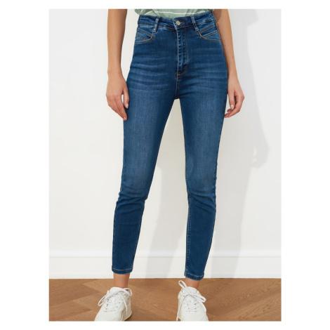 Trendyol niebieski skinny fit skrócone dżinsy