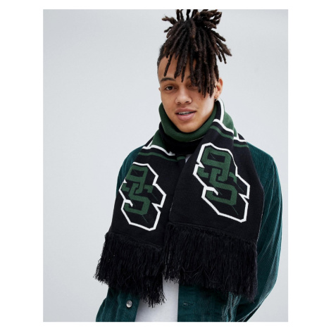 ASOS DESIGN football scarf in black