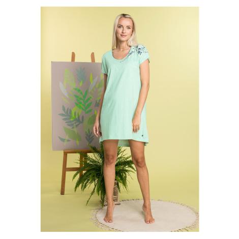 Koszulka nocna damska z bawełny w kolorze pistacjowym Key