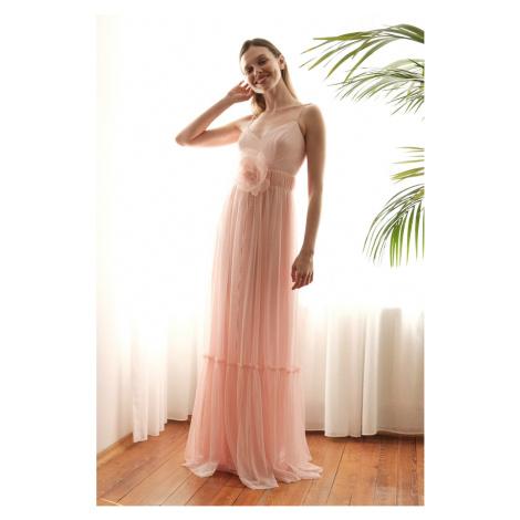 Trendyol Powder Akcesoria Szczegółowe punkty Tiulowa suknia wieczorowa & sukienka ukończenia