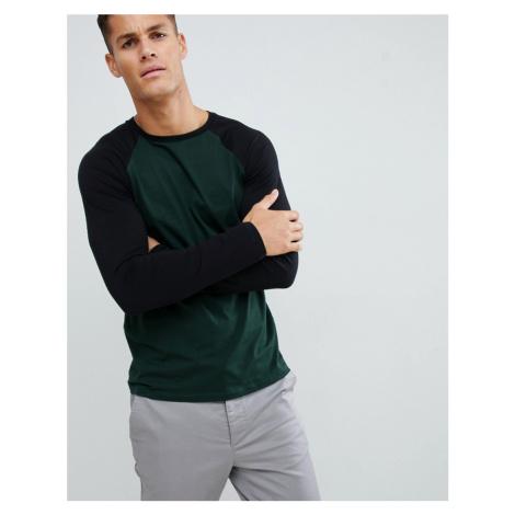 ASOS DESIGN long sleeve raglan t-shirt with crew neck in green
