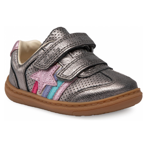 Sneakersy CLARKS - Flash Heat T 261526586 Pewter Leather