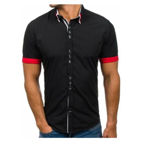 Koszula męska elegancka z krótkim rękawem czarna Bolf 2926