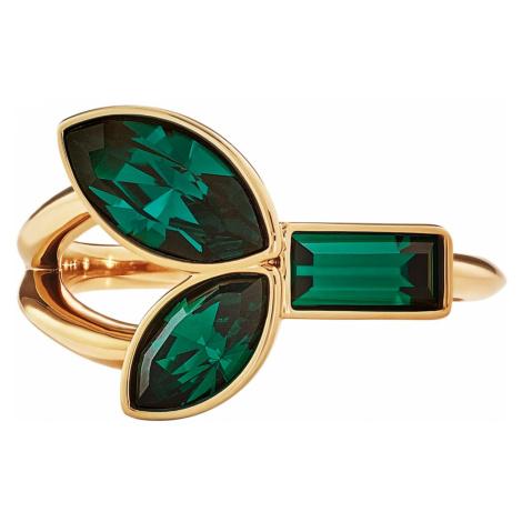 Pierścionek z bambusem, zielony, w odcieniu złota Swarovski
