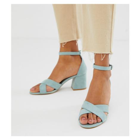 Pull&Bear block heel sandal with cross front in pale blue Pull & Bear