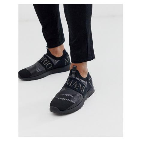 Emporio Armani Arco all over logo sock trainers in black