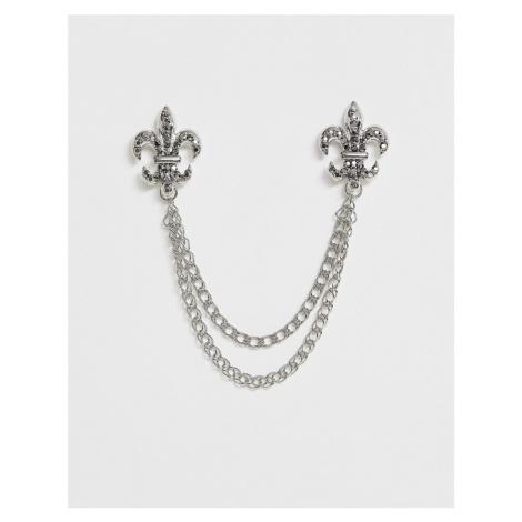 ASOS DESIGN fleur de lis crystal style collar tips in silver