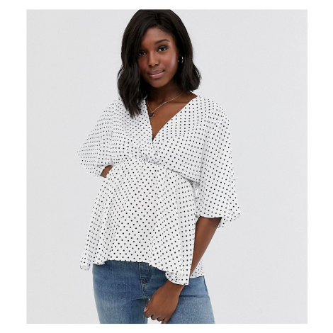 New Look Maternity flutter sleeve belted wrap top in white