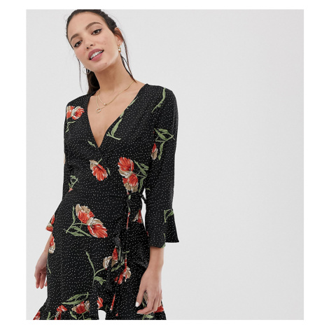 Influence Tall Floral And Polka Dot Frill Wrap Dress